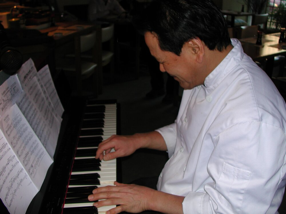 Riki-san, the Owner Chef of Ichiriki, plays jazz piano